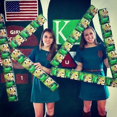 kappa delta philantrophy letters made out of Girl Scout cookie boxes!