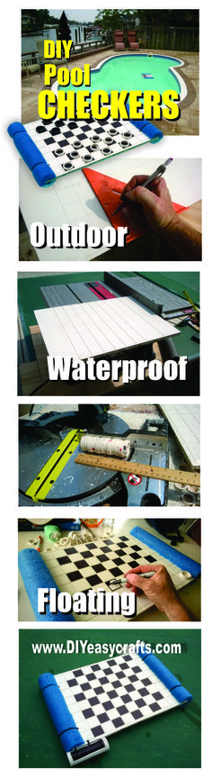 Easy DIY Outdoor Waterproof Floating Checkers board. A great swimming pool activity for kids of all ages. All you need is a piece of white PVC, some pvc pipe, a floating pool noodle, a sharpie and a few wire ties. We also used a table saw, drill and chop saw. This project takes a couple hours to complete and makes a unique waterproof outdoor yard game. Please check us out on the web http://www.diyeasycrafts.com/