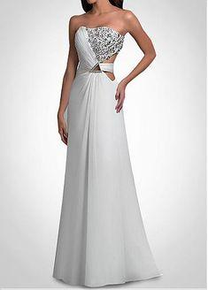 Glamorous Chiffon A-Line Strapless  Long  Prom Dress