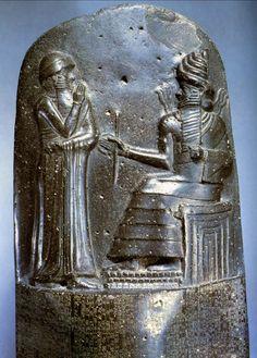 Law Code of Hammurabi. c. 1760 BCE, height of stele approx, 7'. Diorite