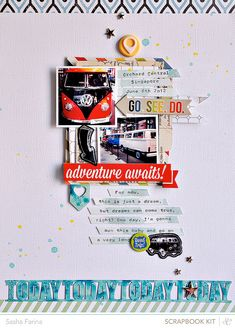 Adventure Awaits *Main Kit Only* by Sasha at Adique-Alarcon Adique-Alarcon Phillips Mounier Calico Created with Roundabout Kit (JUne Scrapbook Journal, Baby Scrapbook, Travel Scrapbook, Scrapbook Paper Crafts, Scrapbook Cards, Scrapbook Photos, Scrapbook Storage, Scrapbook Organization, Mini Albums