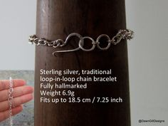 Hand forged, chain bracelet - Handcrafted, sterling silver, hallmarked chain by DawnGillDesigns on Etsy Pull Through, Bespoke Jewellery, Beautiful Earrings, My Etsy Shop, Sterling Silver, Chain, Unique Jewelry, Bracelets, Handmade Gifts