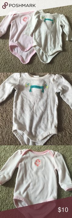 2 long sleeve one pieces 💛💕 Both worn a few times, still in great condition. Both are 3-6 months from Gymboree. 100% cotton. Gymboree One Pieces Bodysuits