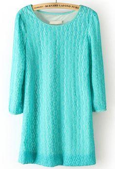 #SheInside Green Long Sleeve Loose Lace Straight Dress - Sheinside.com