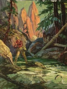 "FISHERMAN IN THE MOUNTAINS BY HENRY HY HINTERMEISTER, 7 1/2"" x 10"""