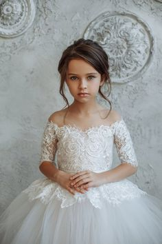 326050502860 Tulle Flower Girl Dress, Tutu Girl Dress, Ivory Girl Dress, Long Sleeves Girl  Dress, Lace Girl Dress, Communion Dress, White Girl Dress