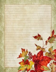 October leaves ~ printable lined stationery ~ lilac-n-lavender Free Printable Stationery, Printable Paper, Free Printables, Journal Paper, Journal Cards, Decoupage, Art Carte, Stationery Paper, Writing Paper