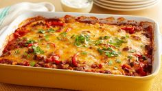 Beef Tortilla Taco Casserole - We're pretty much obsessed with make-ahead meals at Pillsbury, so we created this cheesy Mexican-inspired casserole specifically to be a freezer-friendly dinner. Taco Casserole, Casserole Recipes, Breakfast Casserole, Taco Bake, Mexican Casserole, Pasta Bake, Soup Recipes, Chicken Recipes, Snack Recipes