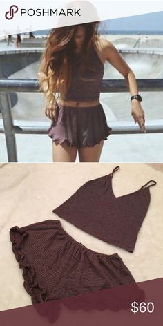 RARE brandy melville matching set festival So obsessed with this rare Joanne Vodi set! Perfect for festival season and right in time for the summer. True to size. ✨ Brandy Melville Skirts Skirt Sets