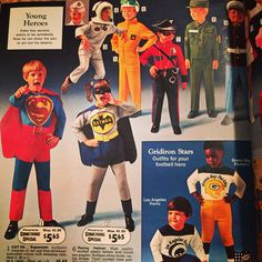 Check out these costumes. Pretty swanky Batman & Superman there! Costumes so cool, they defy gravity (note the kid floating in the back). Costumes just don't do that nowadays. #batman #superman #bigolboxofstuff #vintageads #humor