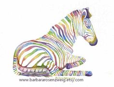 Rainbow Zebra Fantasy fine art matted print of original watercolor painting that's perfect for the nursery! by Barbara Rosenzweig