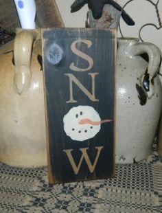 SNOW SNOWMEN PRIMITIVE SIGN SIGNS