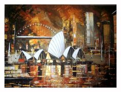 Sunset on Sydney  Original Painting  Acrylic -original art on canvas - sydney art- australian painting