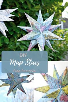 How to Make Gorgeous Free Printable Map Star Decorations Maps are a fun way to personalize and add interest to decorations. Here's a free printable and tutorial to make a fantastic Map star Christmas decoration Noel Christmas, Christmas Crafts, Oragami Christmas Ornaments, Crafts For Teens, Crafts To Make, Printable Maps, Free Printable, Printables, 3d Templates