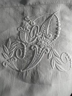 Stunning Antique French Linen Hand Embroidered Wedding Dowry Sheet RJ Monogram | eBay