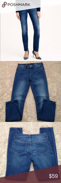 """J. Crew Reid Jeans J. Crew Reid jeans. These are fitted through hip and thigh, with a slim, straight leg. Measurements are waist laying  flat measures 15"""" across, rise 9"""" inches and with a 31"""" inseam. I washed these once, never worn. Great condition!!!🌺 J. Crew Jeans"""