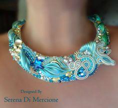 """COLLIER, bead embroidery, shibori silk, soutache, swarovski. Designed by """"Serena Di Mercione Jewelry"""""""