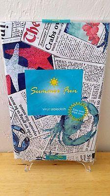 daily crab vinyl tablecloths flannel back 4 sizes - Vinyl Tablecloths