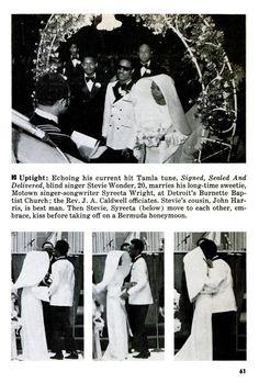 Stevie Wonder's wedding to Syreeta Wright in Jet magazine