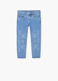 Embroidered relaxed jeans | MANGO