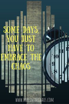 Somedays chaos rules and all you can do is roll with it. Embrace even the most challenging days facing your family.