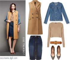 Wear autumn trends now with this runway to school run look inspired by J Crew fall 2015 show. #nyfw workwear office look, smart casual, denim skirt, denim jacket, sleeveless coat, point pumps, metallic