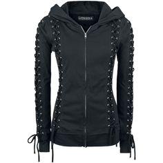 Gothicana hauen wieder ordentlich einen raus: Die schwarze Corded Hood Girl-Kapuzenjacke sieht verdammt gut aus. Wie immer gibt's nicht einfach eine normale schwarze Jacke, sondern eine Jacke mit dem gewissen Gothicana-Style. Auf der Front, auf den Ärmeln und an der Kapuze sind nämlch Schnürungen angebracht - sau gut. Außerdem sind die Nähte im leichten Vintage-Style verarbeitet.