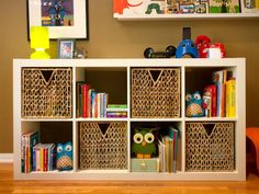 Get Organized    Wicker baskets are a fantastic addition to any bookshelf. Not only do they conceal  clutter, they also make it easy to organize  things — e.g. in a baby's room - toys in one bin, puzzles in another, coloring supplies, games or even diapers in another.