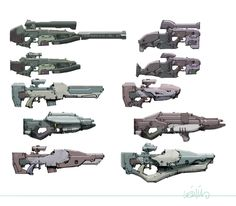 More futuristic gun concepts, by Leinil Francis Yu.