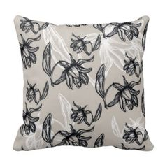 Black and white flowers on beige pillows  Save 15% on all pillow orders! LAST DAY Use Code: ZAZTAXSAVING