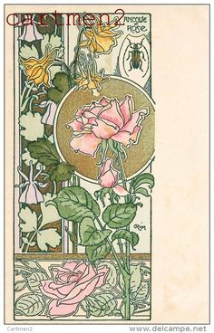 Art Nouveau anyone? This illustration has a definite influence from Alphonse Mucha. Fleurs Art Nouveau, Motifs Art Nouveau, Design Art Nouveau, Art Nouveau Flowers, Art Nouveau Pattern, Art Nouveau Mucha, Art Nouveau Tattoo, Tatuaje Art Nouveau, Rose Illustration
