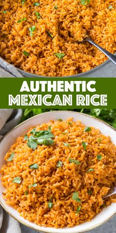 This easy Mexican Rice Recipe is a family favorite, toasted extra longgrain white rice simmered in a blend of chickenbroth, tomato sauce, and spices. Perfect served with tacos, enchiladas and refried beans, of course! Spicy Mexican Rice, Mexican Beans And Rice, Authentic Mexican Rice, Mexican Chicken And Rice, Mexican Rice Recipes, Mexican Refried Beans, Mexican Rice Recipe With Tomato Sauce, Mexican Rice And Refried Beans Recipe, White Mexican Rice
