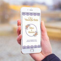 Convite digital celular whatsapp save the date casamento renda roxa.