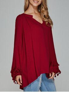 GET $50 NOW   Join RoseGal: Get YOUR $50 NOW!http://www.rosegal.com/blouses/v-neck-asymmetrical-fringed-blouse-754532.html?seid=6897633rg754532