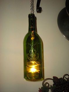 wine bottle lantern, repurposing upcycling