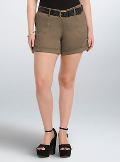 Plus Size Belted Sateen Shorts, MOREL