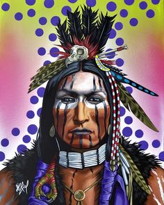 Nativeamericanwarriors red road warrior detail painting by owl man une toile de riel benn issue de sa srie native art fandeluxe Gallery