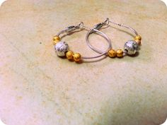 Stunning silver gold plate  hoop Earrings boho jewelry by Arielior, $15.00