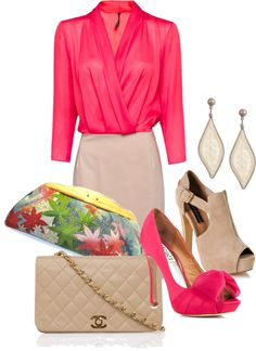 """Love the pop of color, such a classy and feminine outfit! (""""Untitled #605"""" by bennaob on Polyvore)"""