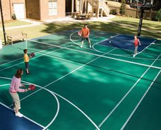 What is a family sports court? It is either a multi-sport gaming area, or a court dedicated to a specific game such as tennis, basketball, or volleyball. Most families opt for the multi-sport option, of course, because it gives them more exercise and entertainment options. How do you build one court to accommodate so many different games? If you think about it, most games involve boundary lines, goal lines, and netting. To build a court that allows for tennis and basketball, for example, s