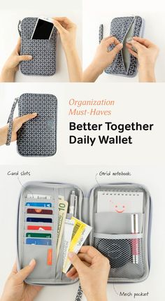 A super functional carry-all pouch! On the outside the Better Together Daily Wallet looks like an unassuming (but cute) pouch. But open it up to find so much more! There are plenty of card slots and pockets to hold your pens, cash, keys, phone, tickets, and more! The zipper closure and wrist strap ensure all your necessities are safely secured at all times. It even comes with a notepad that fits perfectly inside! Prepare yourself for all of life's adventures and check it out!