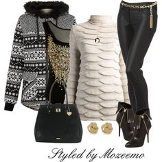 """Statement Printed Parka"" by mozeemo on Polyvore. Smart and stylish fall/winter outfit spruced up with a statement printed parka which has warm (faux) fur trimmed hood. #contest #parka #outerwear #print #bodysuit #blackandwhite"