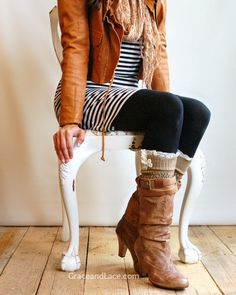The Lacey Lou Gold  Open-work Leg Warmers w/ ivory knit lace trim