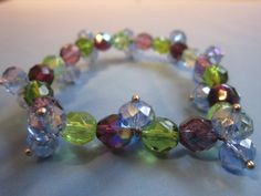 Blue/Green/Purple Glass Crystal Bracelet by BeadazzlingButterfly, $15.00