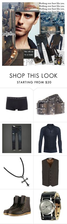 """""""i've been... up in the air out of my head stuck in a moment of emotion i have destroyed is this the end i feel?"""" by mars-phoenix ❤ liked on Polyvore featuring BOSS Black, HTC, Abercrombie & Fitch, Avant Toi, G by Guess, Gerber, HUGO, Marc Jacobs, Vegetarian Shoes and FOSSIL"""