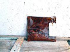 Leather clutch / zippered fold over purse Rusty by FeralEmpire, $62.00