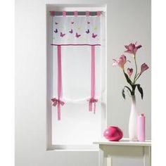 Store forme droite voile brodé 100% polyester Taille 60x H150 cm ( idéal pour une porte fenêtre) Store prêt à poser
