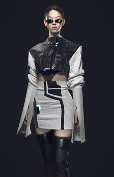 Stage Outfits, Edgy Outfits, Cool Outfits, Fashion Outfits, Futuristic Outfits, Estilo Madison Beer, Conceptual Fashion, Cyberpunk Fashion, Cyberpunk Clothes