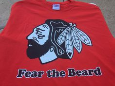 Chicago Blackhawks NHL Fear The Beard t-shirt or ladies v-neck NEW with tags hockey tee