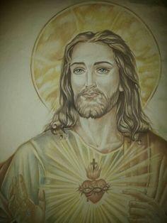 """"""" Sacro Cuore di Gesú """" W.I.P. Pietra laviva e ceramica Decorazione a mano Particolare prima della cottura By Rondinellart."""
